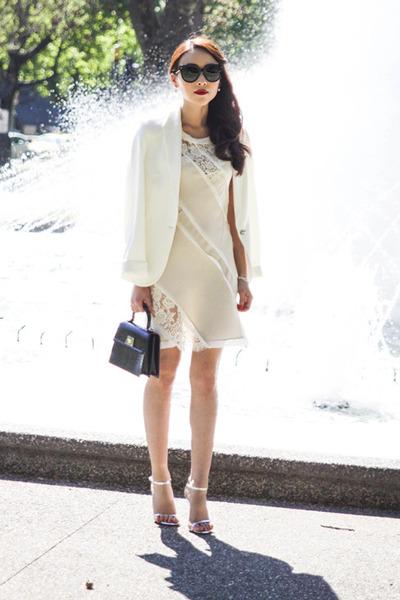 black patent Louis Vuitton bag - off white lace Marnie Skillings dress