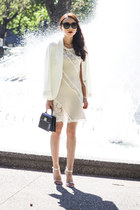 black patent Louis Vuitton bag - off white lace Marnie Skillings dress