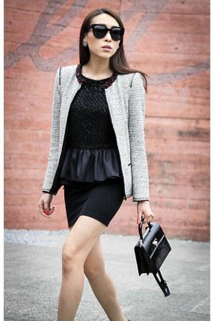 black patent Louis Vuitton bag - white tweed Zara blazer