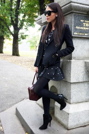 black suede Zara boots - black pearl Bettina Liano dress