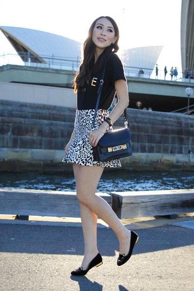 white leopard print Zara skirt - black ps11 PROENZA SCHOULER bag