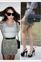 mustard sequins Forever New skirt - heather gray relaxed Witchery sweater