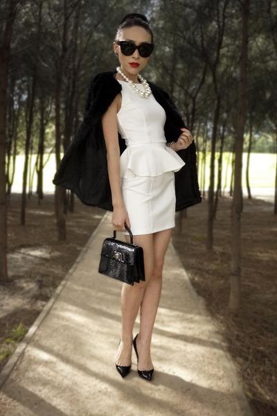 Black Faux Fur Storets Coats White Peplum Topshop Dresses A