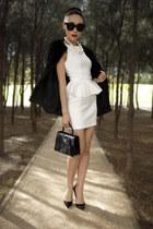 black faux fur storets coat - white peplum Topshop dress