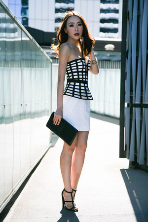 black clutch Yves Saint Laurent bag - white peplum sass & bide skirt