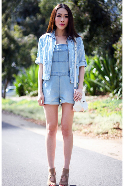 light blue Target jacket - white Alexander Wang bag - light blue Target romper