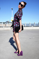 Nine West wedges - YSL bag - Celine sunglasses - Alannah Hill romper