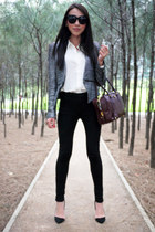 gray tweed Zara blazer - crimson leather Prada bag - black suede Zara heels