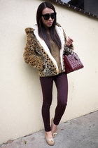 gold knitted Zara sweater - maroon Topshop jeans