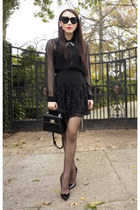 black sheer Zara blouse - black patent Louis Vuitton bag