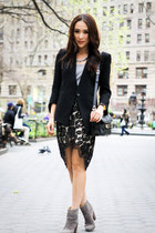 black Helmut Lang blazer - heather gray rag & bone boots - black Lover skirt