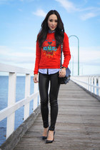 red tiger Kenzo sweater - black leather PROENZA SCHOULER bag