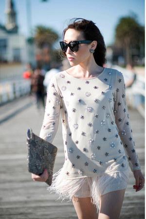 beige sequins Zara blouse - heather gray sequins Zara bag