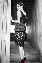black quilted Chanel bag - black lace Lover skirt - black sass & bide blouse