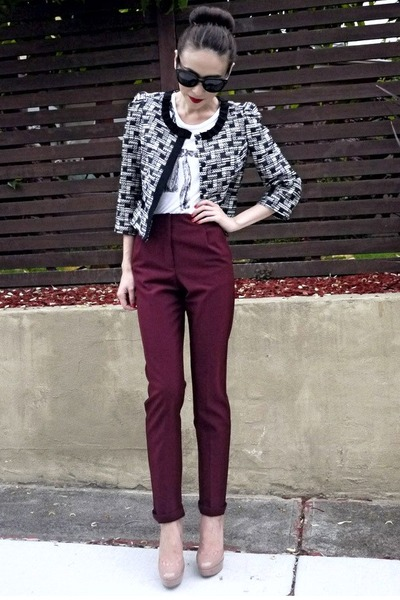 black tweed Review blazer - crimson tapered Topshop pants