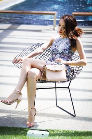 light pink clutch Alexander Wang bag - sky blue tulip skirt Zimmermann dress