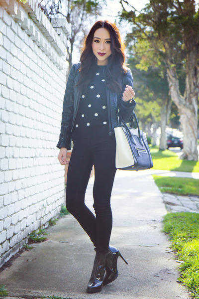 black polka dot Country Road sweater - black leather Zara jacket