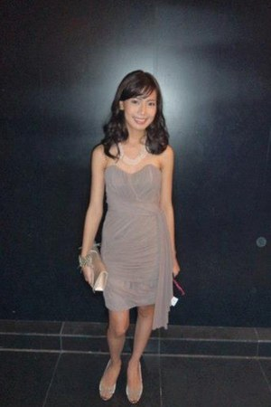tan Mich Araullo dress - ivory with feathers random brand bag