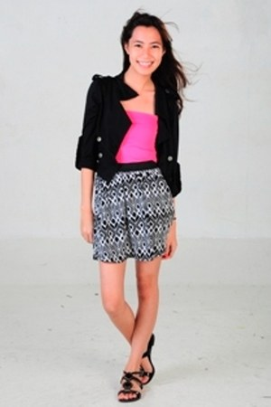 black solo jacket - hot pink tube Mango top - black cotton on skirt