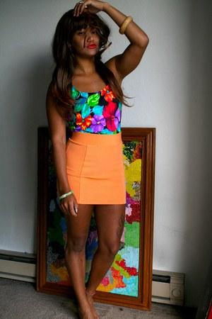light orange Forever 21 skirt - black Thrift Store top