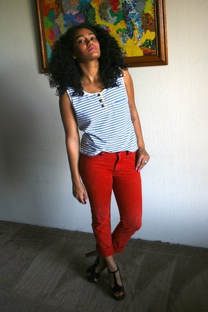 ruby red Goodwill jeans - blue alameda antique fair shirt