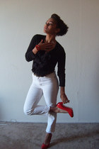 black ruffled Target cardigan - off white Goodwill pants - red patent leather Go