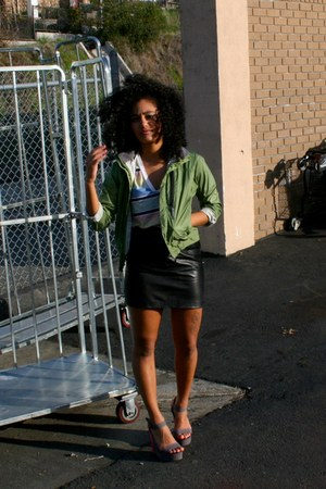 black faux leather Goodwill skirt - olive green kids rei Goodwill jacket