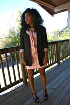 light pink Salvation Army dress - dark brown Salvation Army blazer