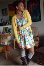 dark brown wal-mart boots - chartreuse floral Goodwill dress - gray thigh high T
