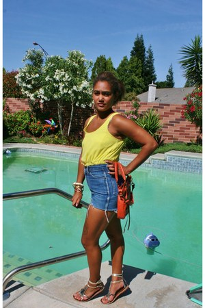 blue shorts - yellow thrift blouse