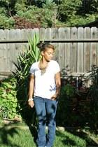 blue thrift jeans - white shirt