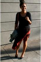 black Forever 21 shirt - brick red SOHO Central skirt