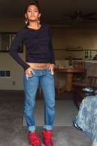 red DIY shoes - blue Ebay jeans - black H&M top - silver Claires accessories - s