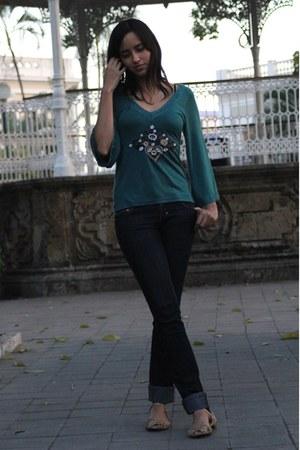 pull&bear jeans - teal Bershka blouse - Zara flats