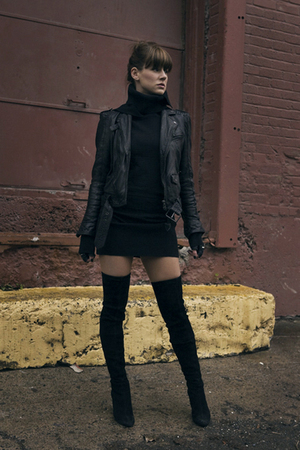 black Zara jacket - black ruelle dress - black Diesel gloves - Zara boots