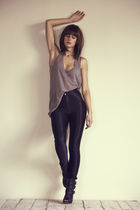 gray Travis Taddeo top - black American Apparel pants - black Aldo shoes