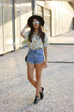 black DressLink hat - light blue romwe shirt - blue asos shorts