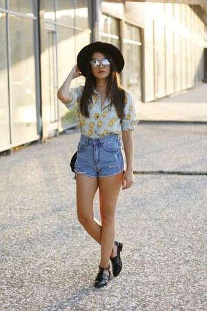 black DressLink hat - light blue romwe shirt - blue asos shorts