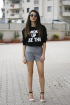 romwe shorts - zeroUV sunglasses - Sheinside sweatshirt