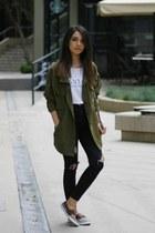 Sheinside jacket - romwe jeans - Mango bag - Sheinside t-shirt - Shoepink flats