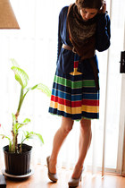 Forever 21 dress - tan Forever 21 heels - navy thrifted Ralph Lauren cardigan -
