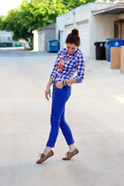 blue Mossimo jeans - blue gingham Aeropostale shirt
