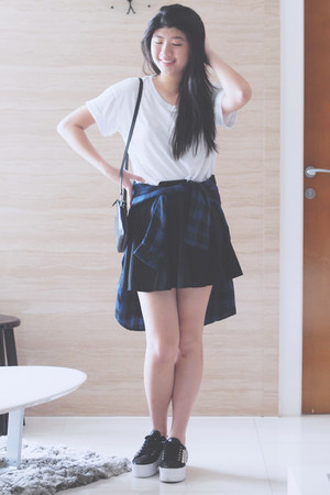 skirt brandy melville skirt - Monki shirt - clutch Dylan Kain bag