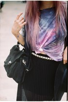 violet galaxy Topshop t-shirt - black oversized H&M hat