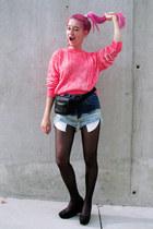 hot pink neon H&M Trend sweatshirt - black bumbag vintage bag