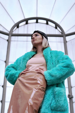 black thrifted hat - turquoise blue faux fur vintage jacket