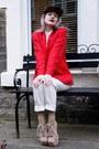 Red-woven-silk-vintage-blazer-camel-lita-inspired-ebay-boots