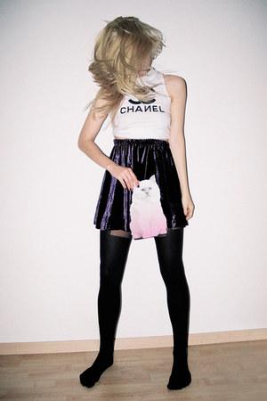 black fishnet House of Holland tights - purple velvet skater vintage skirt