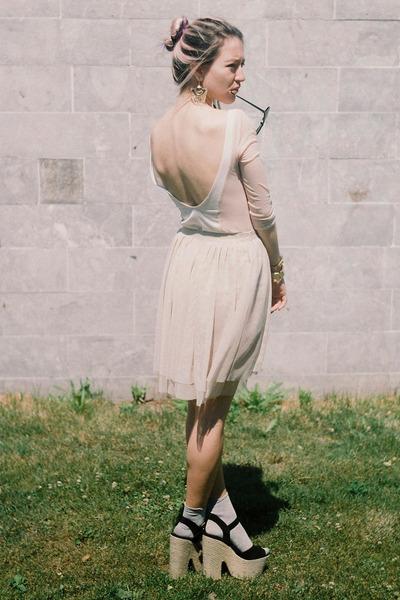cream asymmetrical H&M skirt - silver silver H&M Trend socks