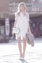 white slingbacks H&M shoes - white mesh sleeves H&M Trend dress